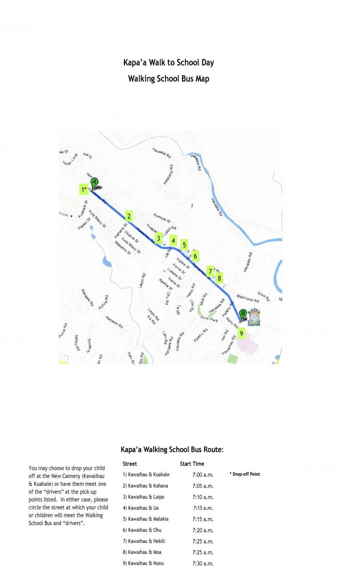 Walk to School Day pick-up sites